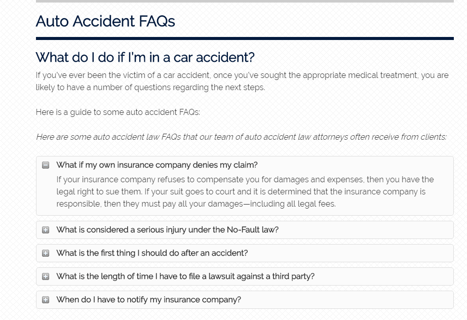 Faq In Law firm website