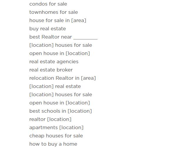 Keywords For Real Estate