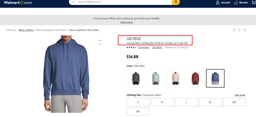 Product Title in Walmart Description